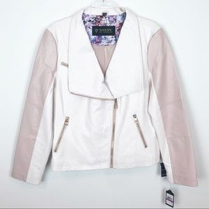 GUESS WHITE W/ PINK FAUX LEATHER MOTO STYLE JACKET